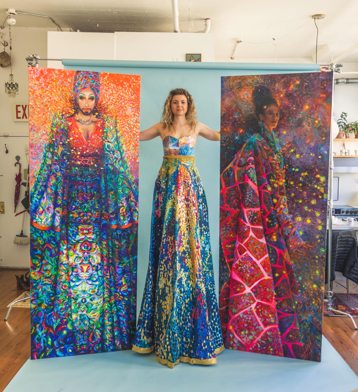 Manghoe Lassie Rising, Artist Iris Scott, Fuchsia Shamanka