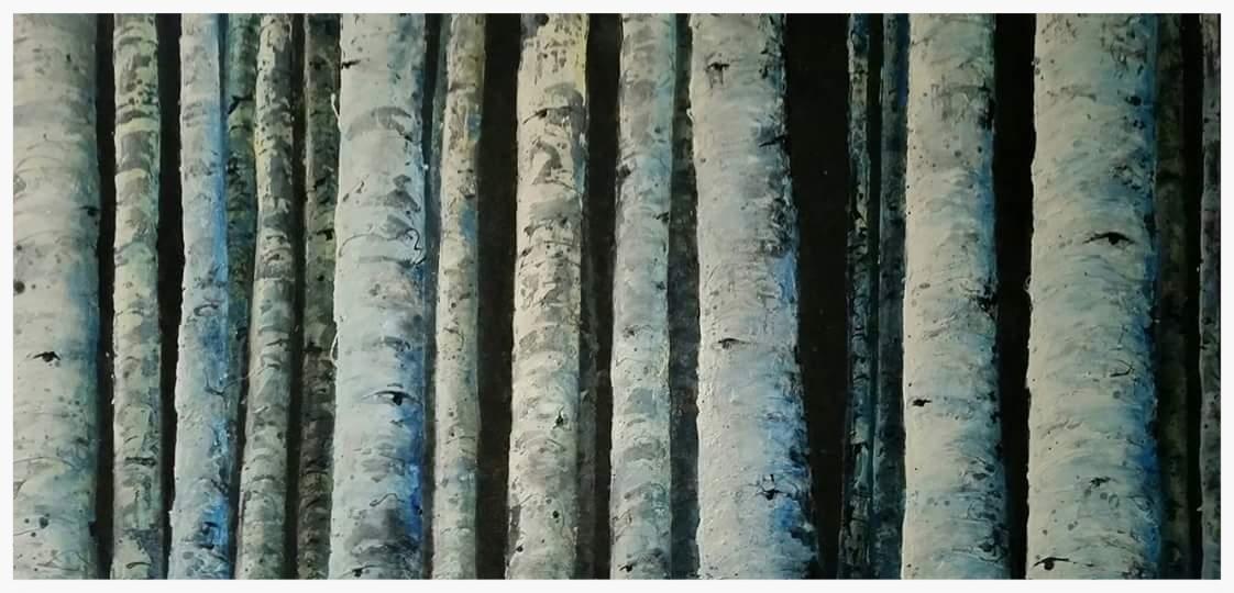 "Nightlit Aspen Grove | 60x30x2"""