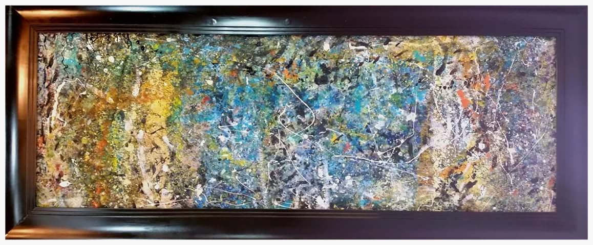 "Blue Abstract | 78x33"" (Frame Included)"