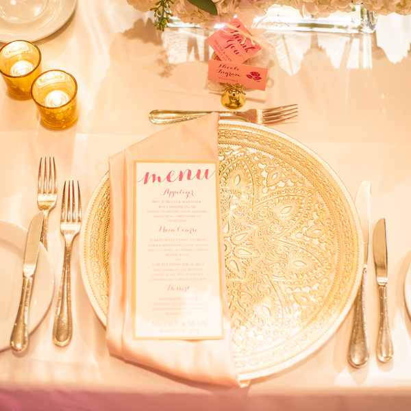 Pink Umbrella Designs - Wedding Menu. Photo by Crista-Lee Photography