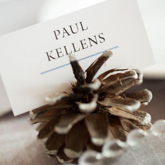 Pink Umbrella Designs - Pinecone Place Card. Photo by Eric Daigle.