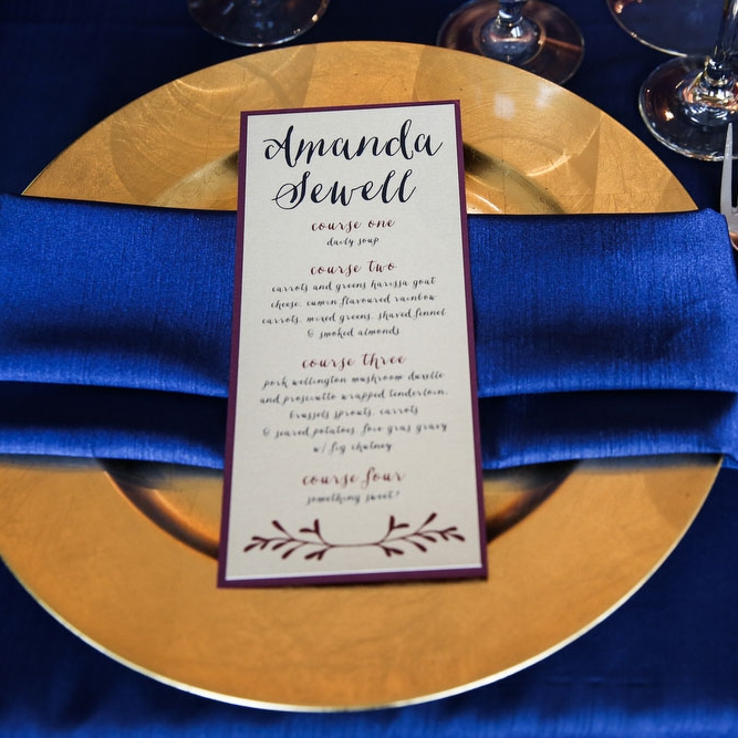 Pink Umbrella Designs - Wedding Menu. Photo by Cassie's Camera