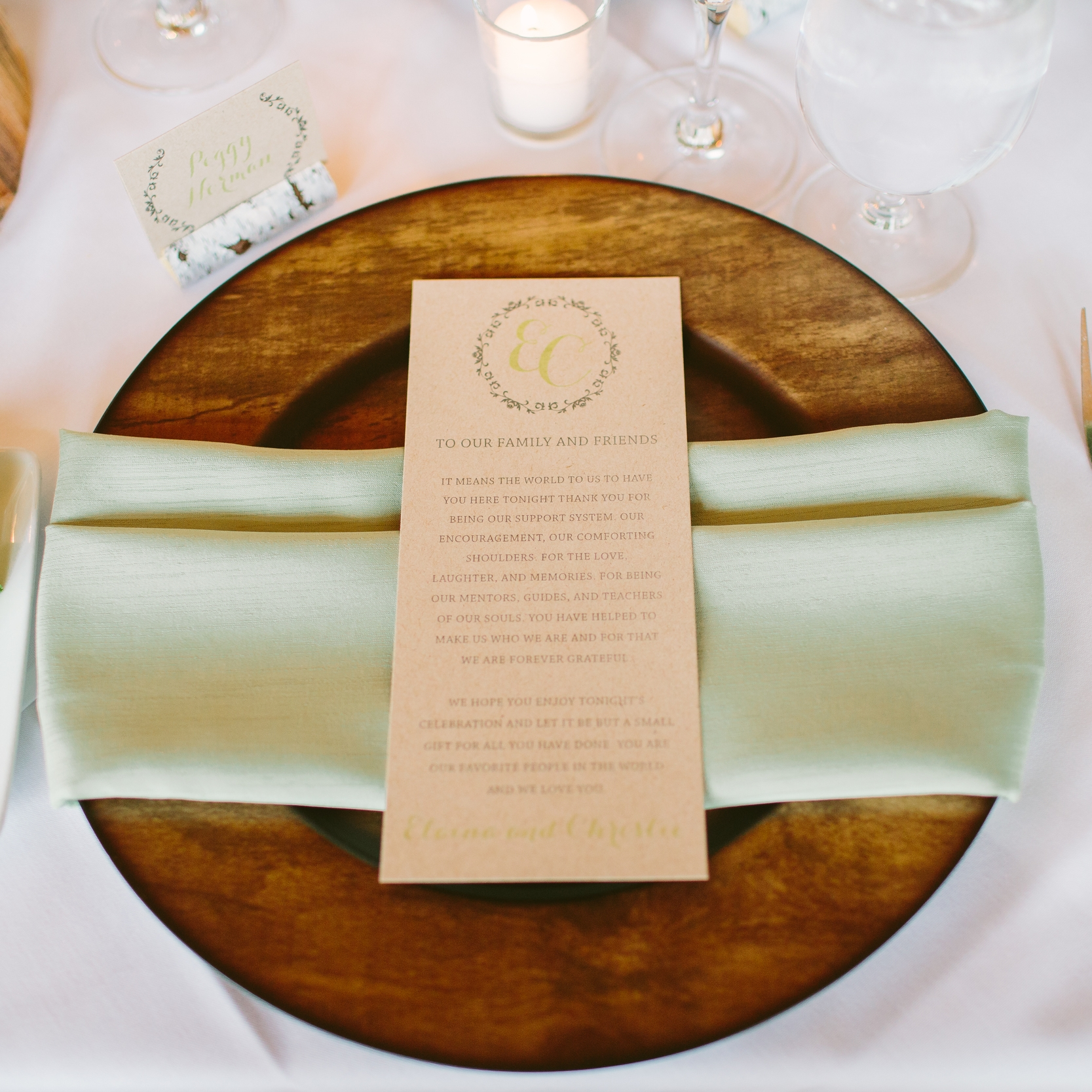 Pink Umbrella Designs - Wedding Menu. Photo by Julie Williams Photography