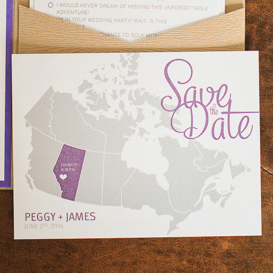 Map of Canada Save the Date Invitation Card.