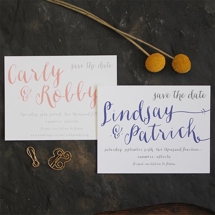 Modern script wedding save the date invitation.
