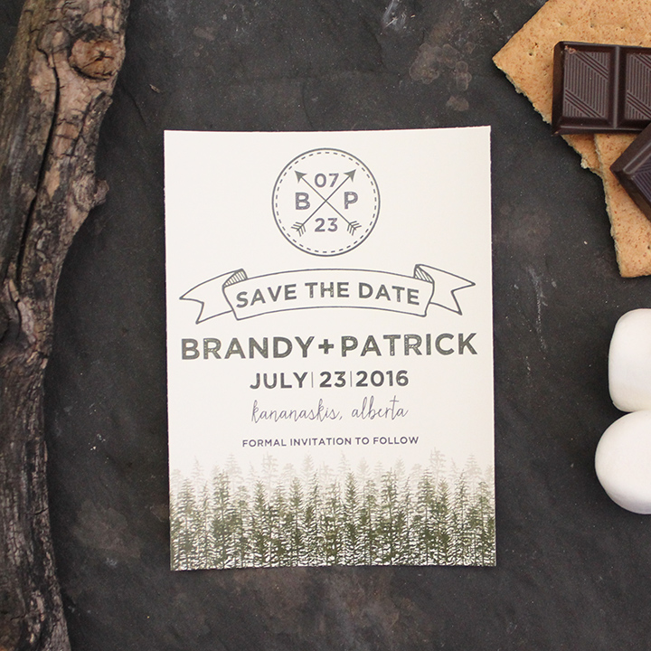 Rustic camping mountain and tree wedding save the date invite.