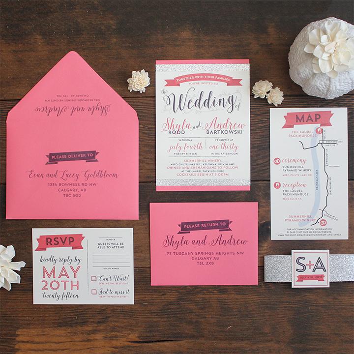 Wedding Invitation Calgary Modern Glam Glitter Sophisticated Invite Suite