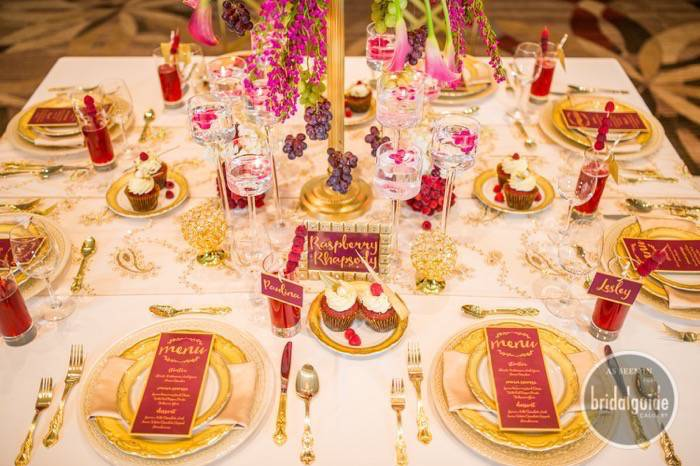 Calgary Bride wedding invitation with rich marsala and gold.