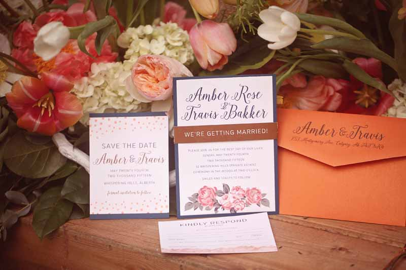 Calgary Wedding Invites - Floral Modern Elegant Suite