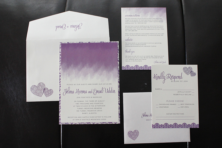 Ombre Lace Wedding Invitations Suite Calgary
