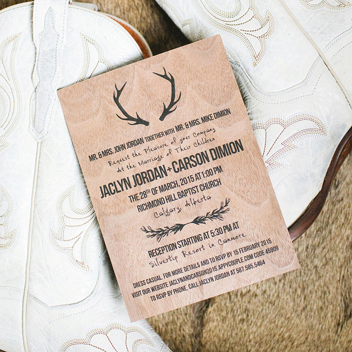 Wood Wedding Invites - Calgary Canmore Banff