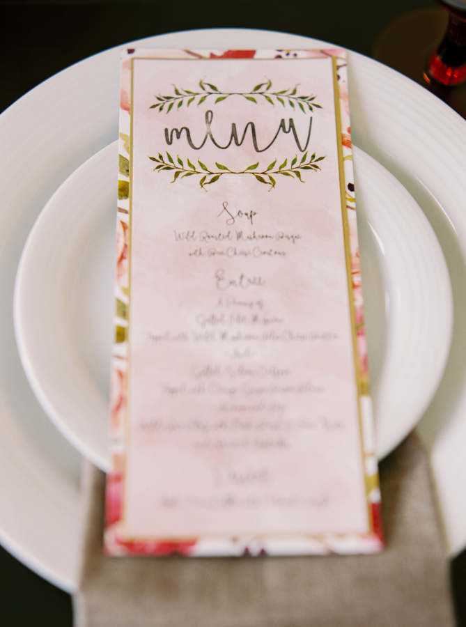 Calgary Canmore Wedding Invitations Watercolour Organic Botanical Menu