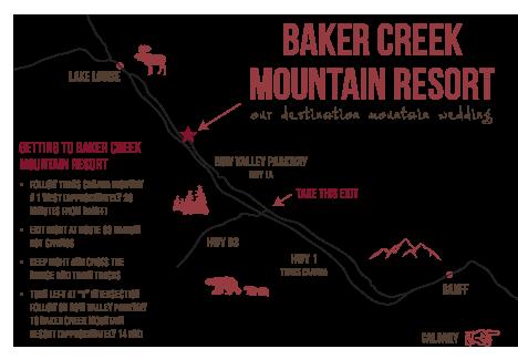 Custom Baker Creek Lake Louise Wedding Map
