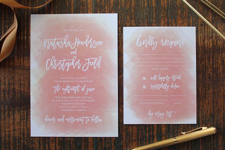 Wedding Invitations Calgary Soft Peach Modern Elegance