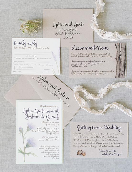 Wedding Invitations Calgary Natural Organic Banff Canmore
