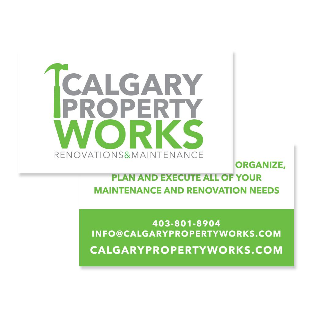 Property Maintenance Calgary Logo Branding Business Card Graphic Design