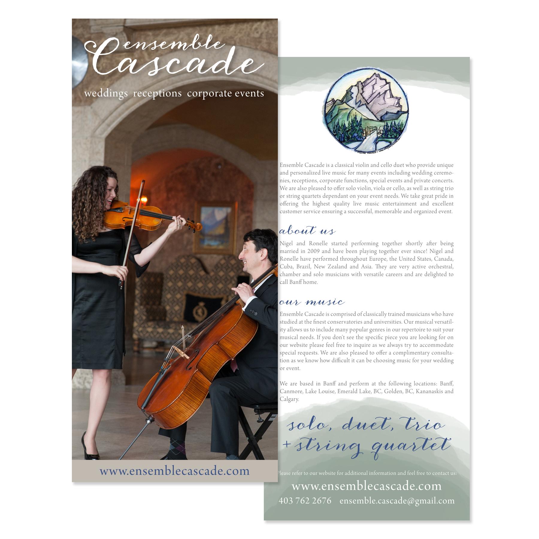 Ensemble Cascade Banff Brochure Rack Card Logo Branding