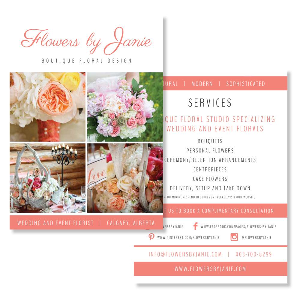 Floral Studio Calgary graphic designer branding flyer brochure signs