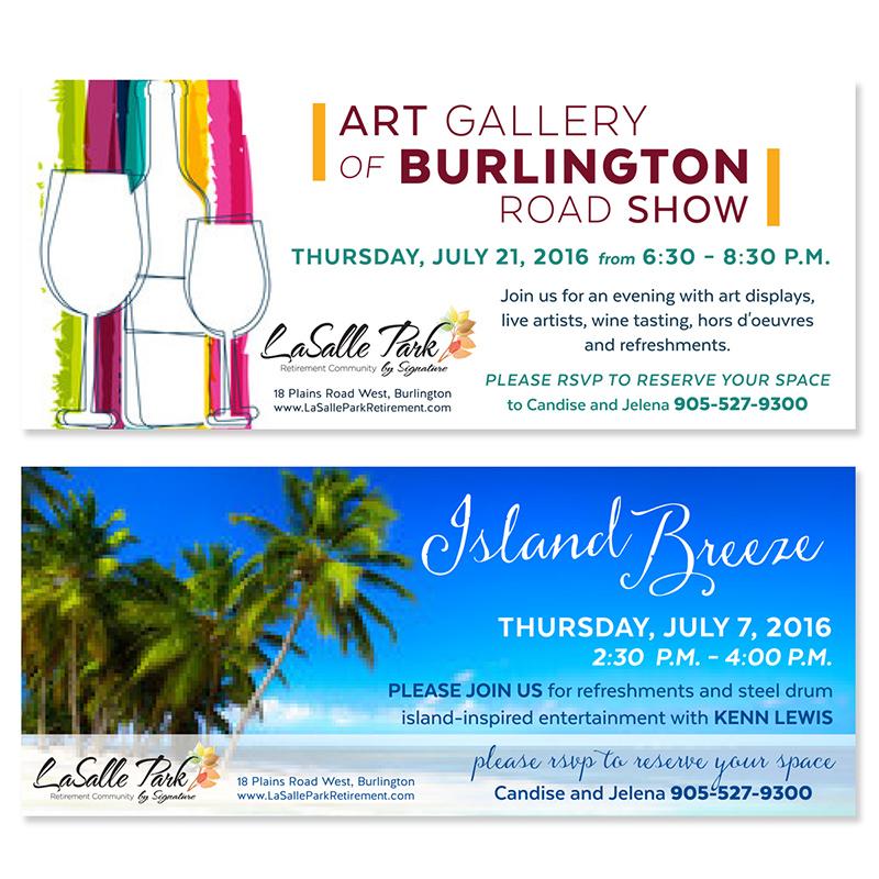Burlington Graphic Design Monthly Flyers