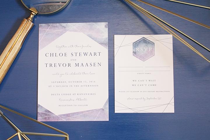 Geometic Watercolor Wedding Invitation Calgary Canmore Banff