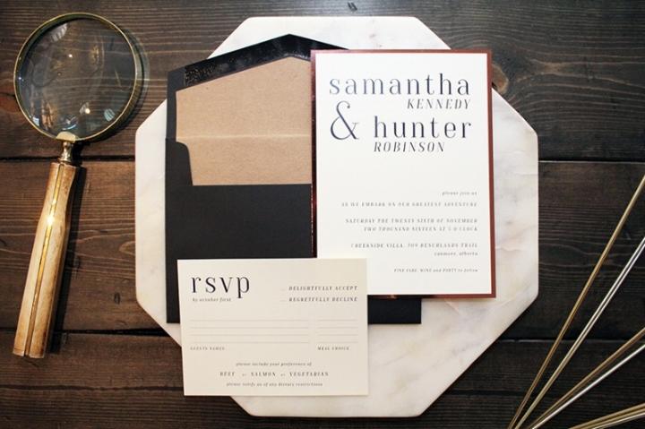 Modern Serif Font Stylish Wedding Invitation Calgary Canmore Banff