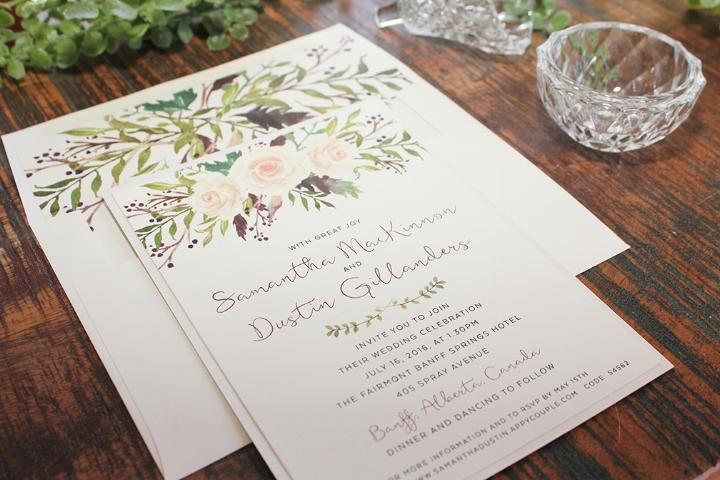 Botanical Floral Flower Wedding Invitation Backyard Boho Calgary Canmore Banff