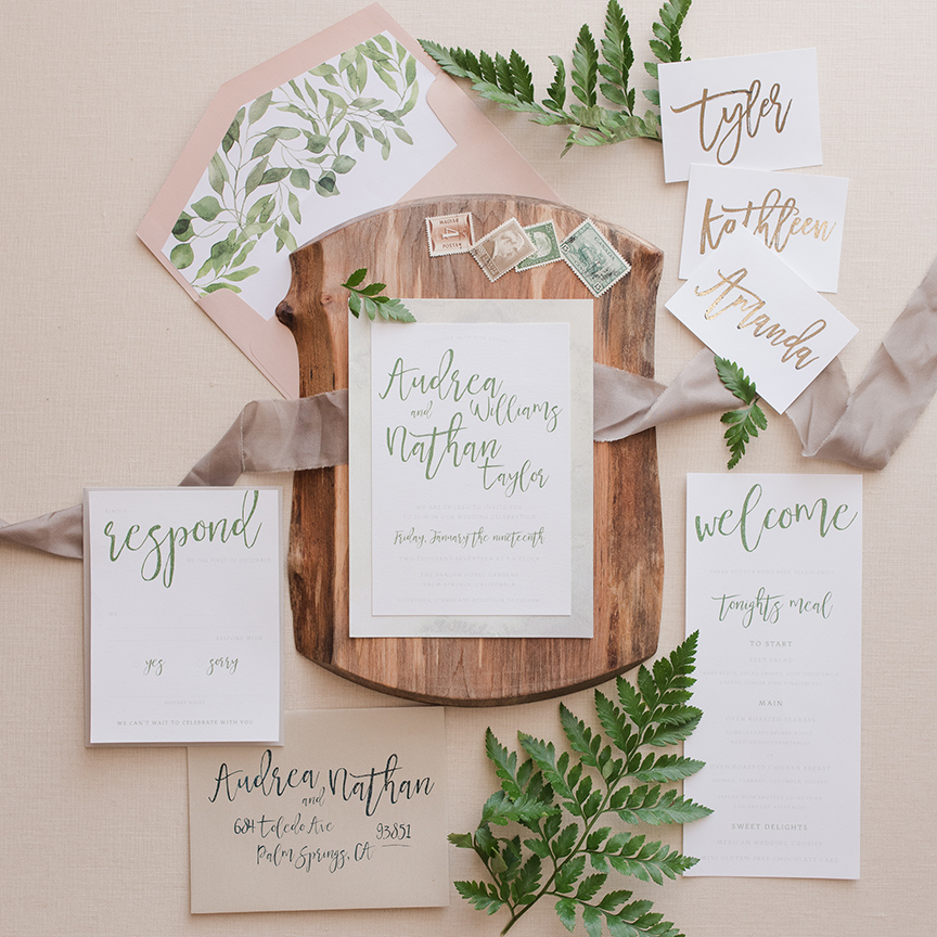 Calgary Wedding Invitations Greenery Natural Organic