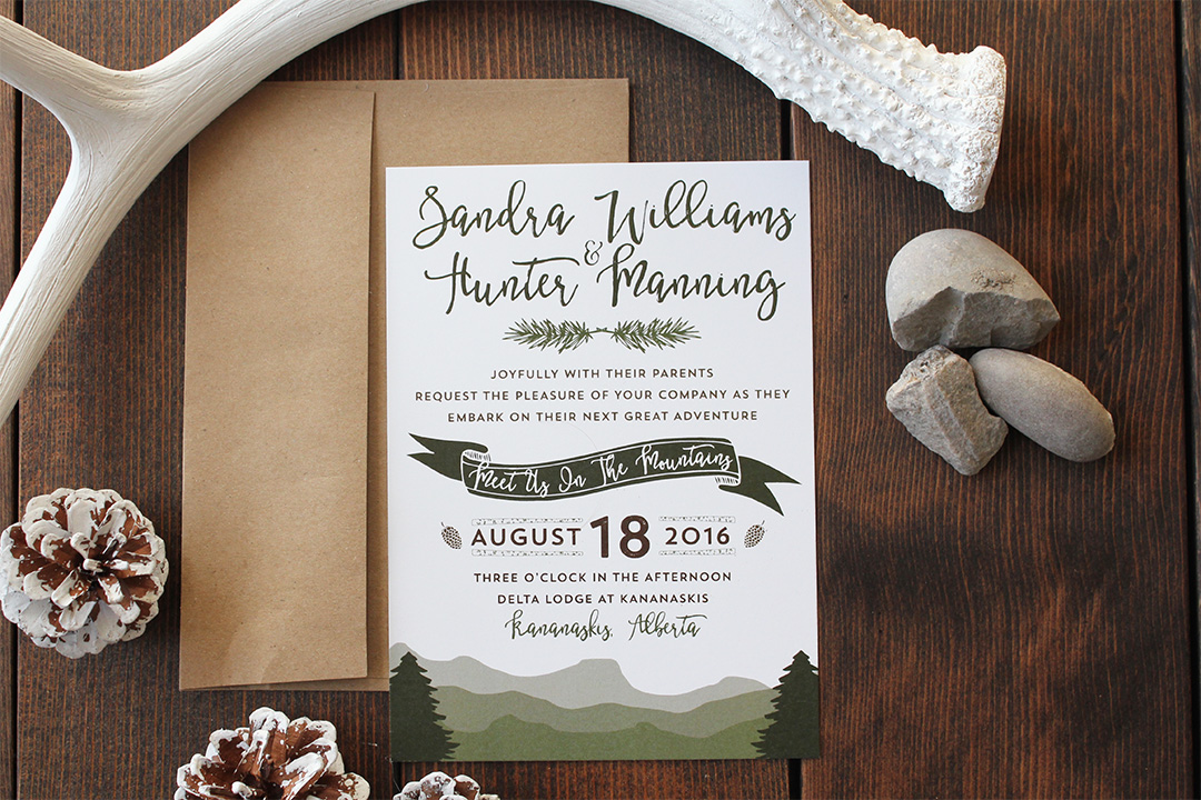 Boho Mountain Wedding Invite Banff