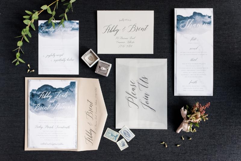 Modern Deep Watercolor Wedding Invite