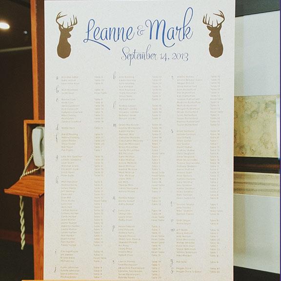 Seating Chart Rustic Canmore Banff Wedding