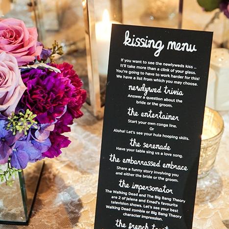 Kissing Menu Wedding Reception Calgary Banff