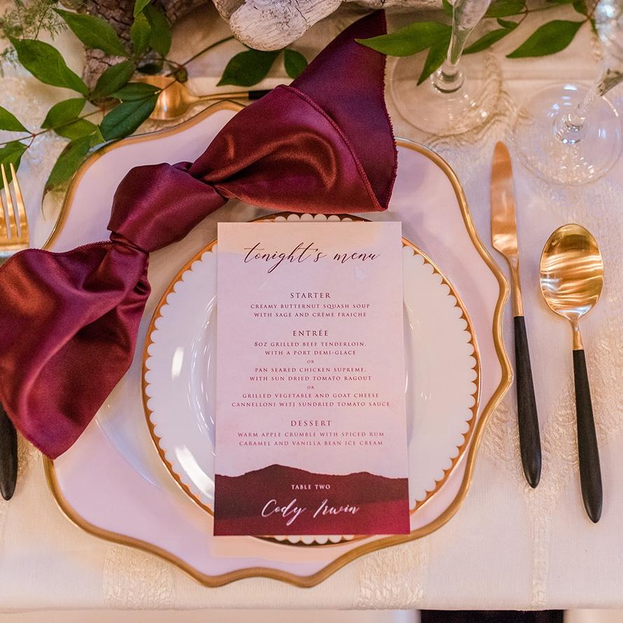 Blush and Merlot Wedding Menu Design