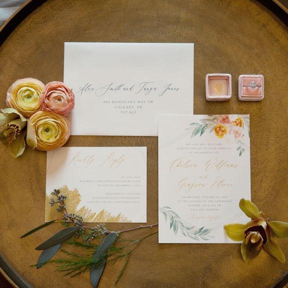 Yellow Golden Flower Wedding Invite Calgary