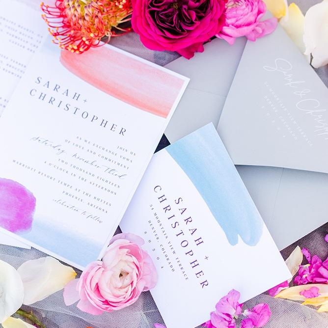 Bright Colorful Wedding Invitation Designer Calgary