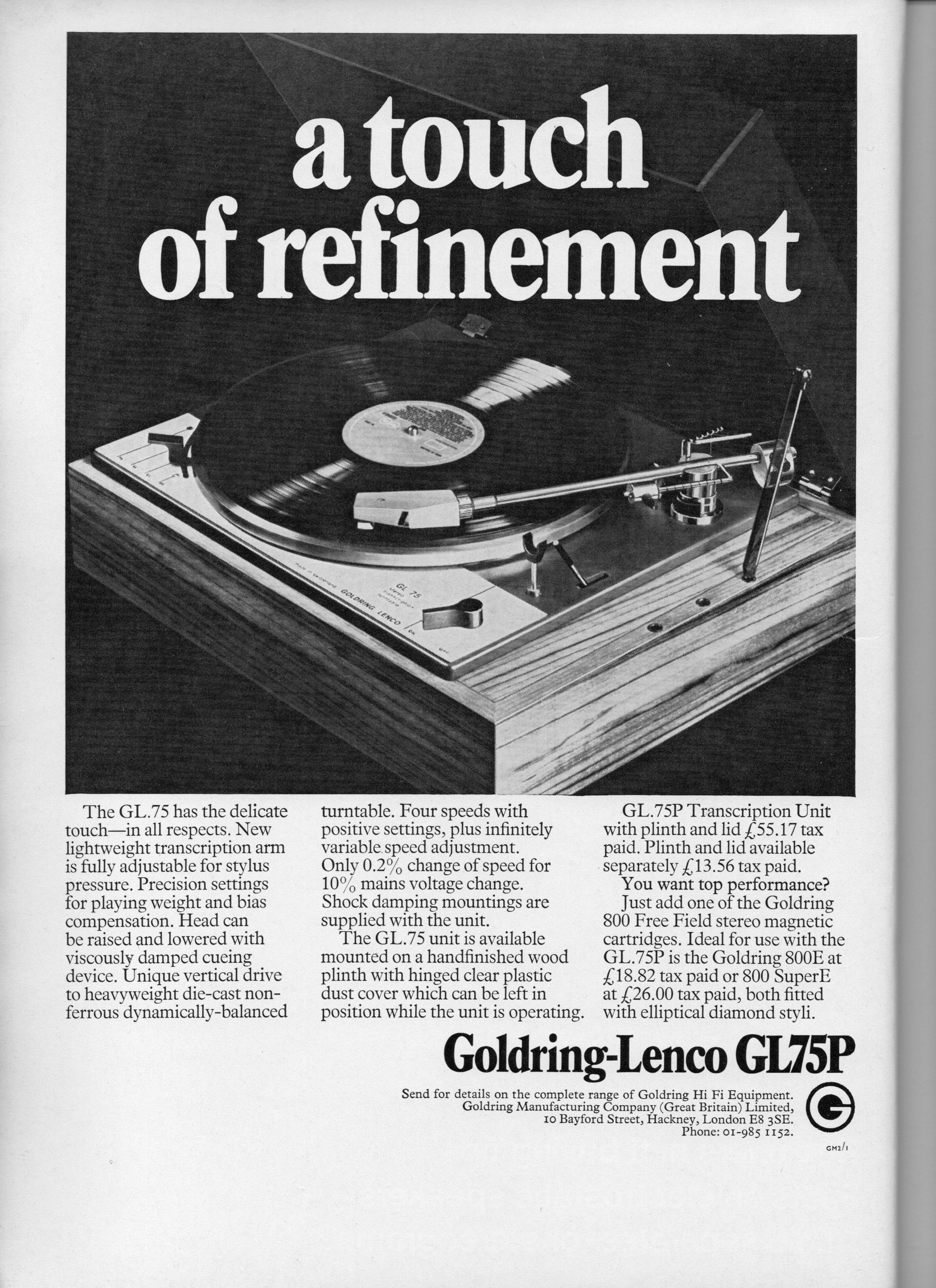 Goldring-Lenco GL75P Advert 1971.jpg
