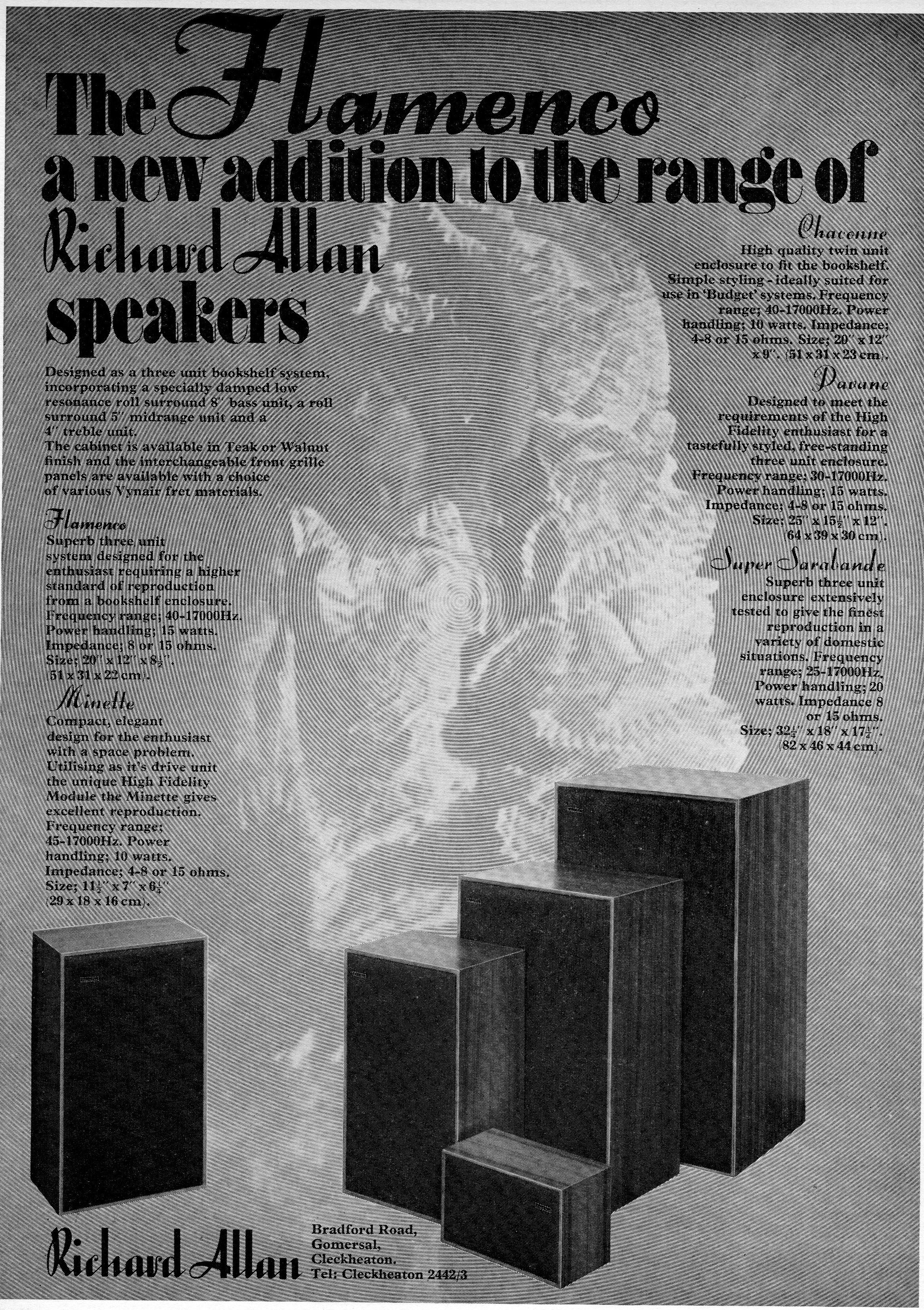 Richard Allan Flamenco, Minette, Chaconne, Davane, Super Sarabande Advert 1971.jpg