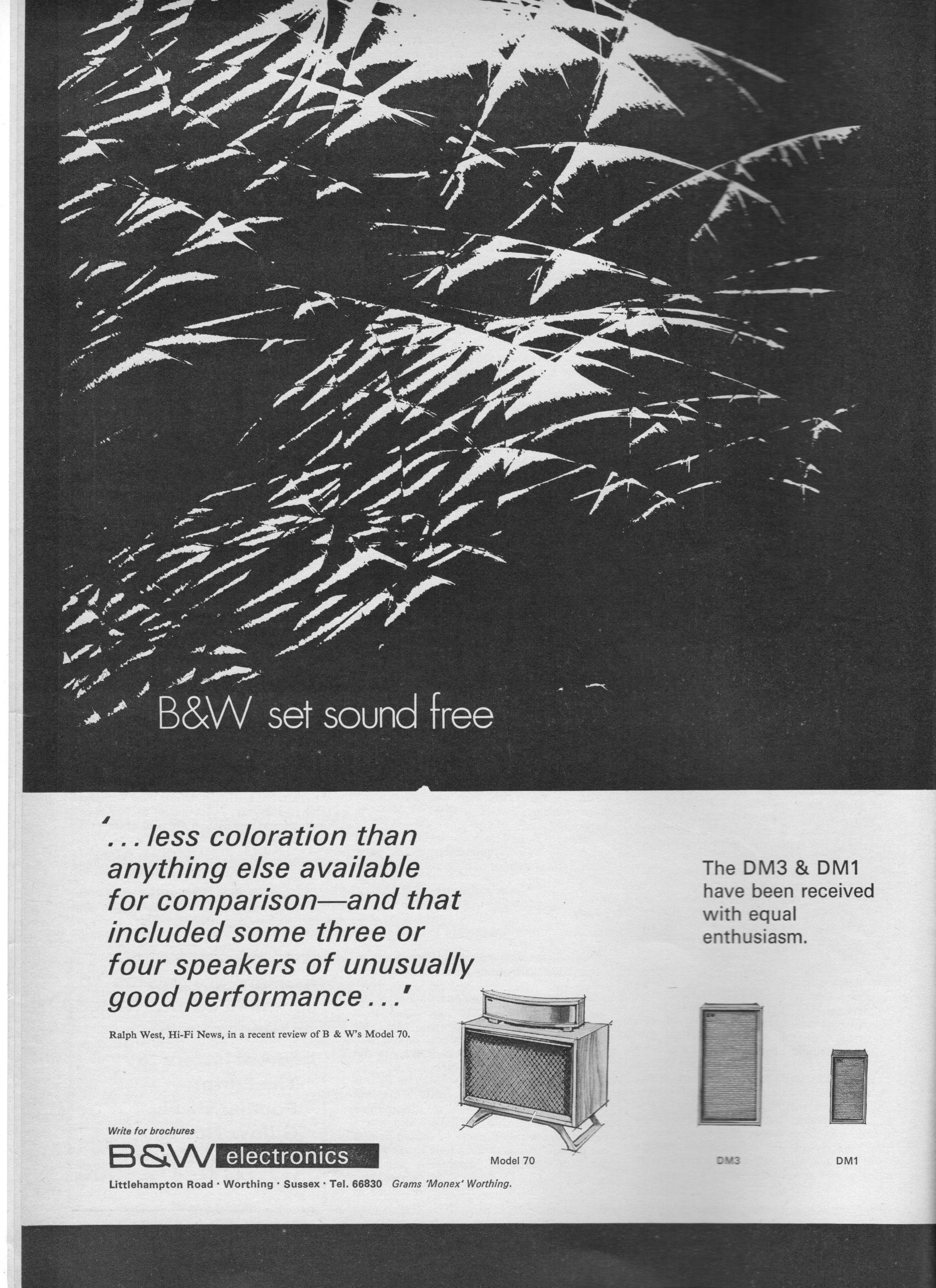 B&W Model 70, DM1, DM2 Advert 1971.jpg