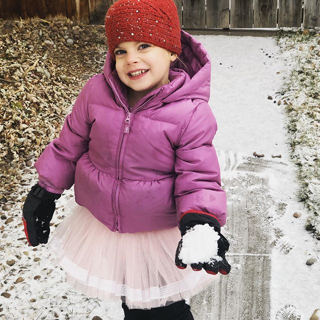 My little ballerina playing in the snow!  We finally got a LITTLE snow in Great Falls!  #snow #holidaycheer #familytime #christmasvacation #ballerina