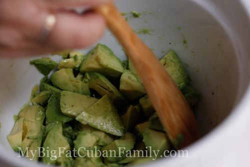 My Big Fat Cuban Family - super easy and delicious recipe for Avocado Cocktail. Like shrimp cocktail but without the shrimp.