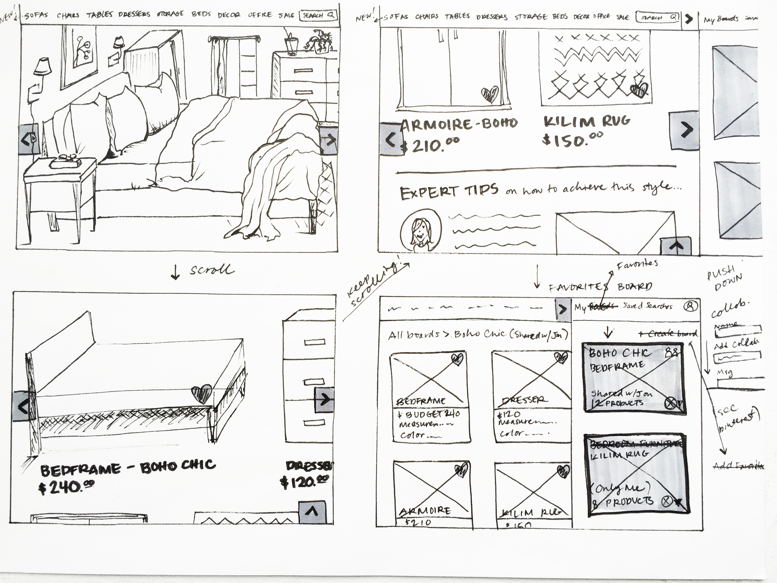 Sketches of contextual scenes, with the ability to see the isolated products by scrolling.   Also introduced the idea of e  xpert tips and favorited items on an integrated slide tab.
