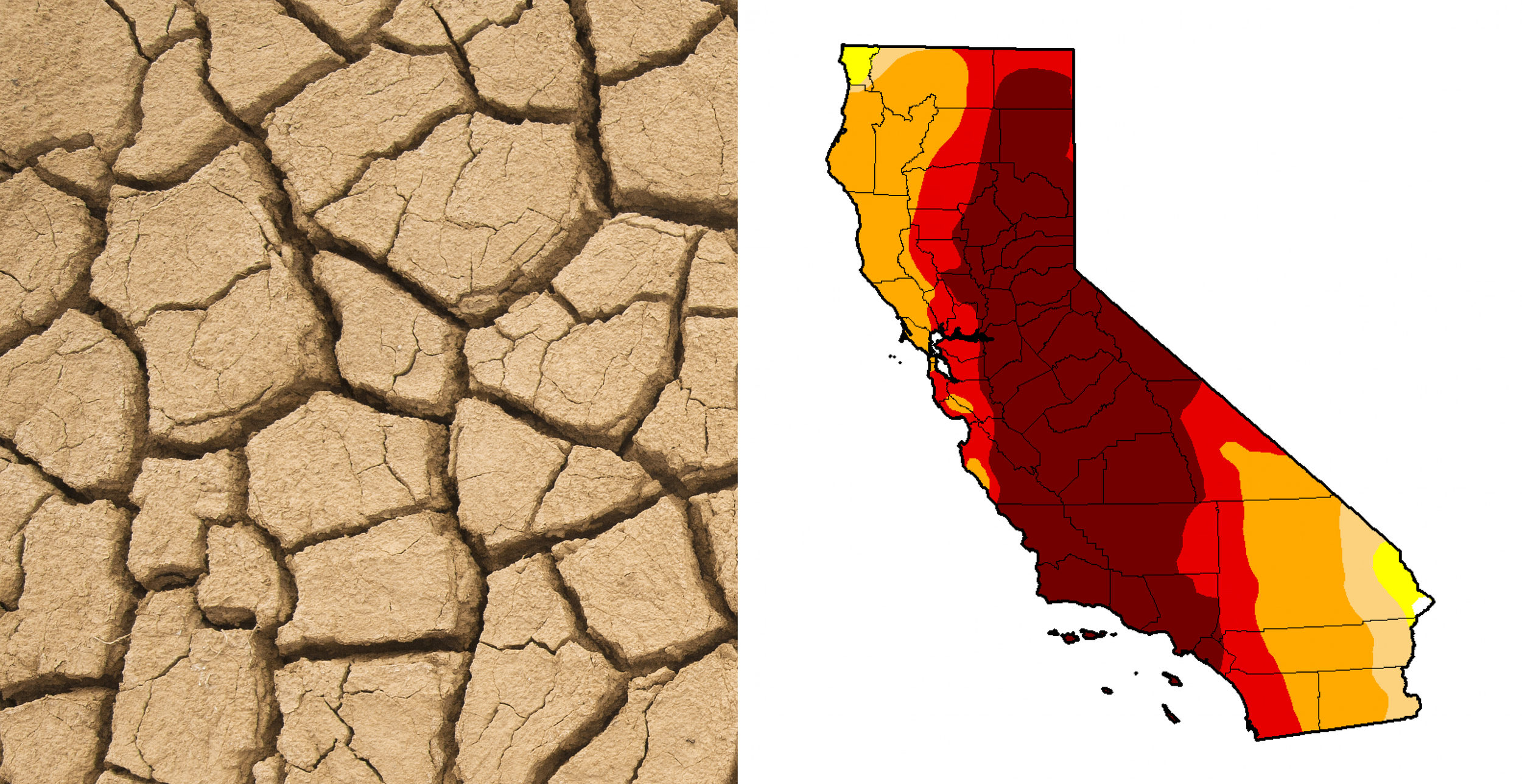 Existing imagery and palette uses an aggressive approach to convey the drought: wheat beige tones are used to alert the viewer while bright red hues prompt urgency. Credit for photos: Wordpress and Washington Post.