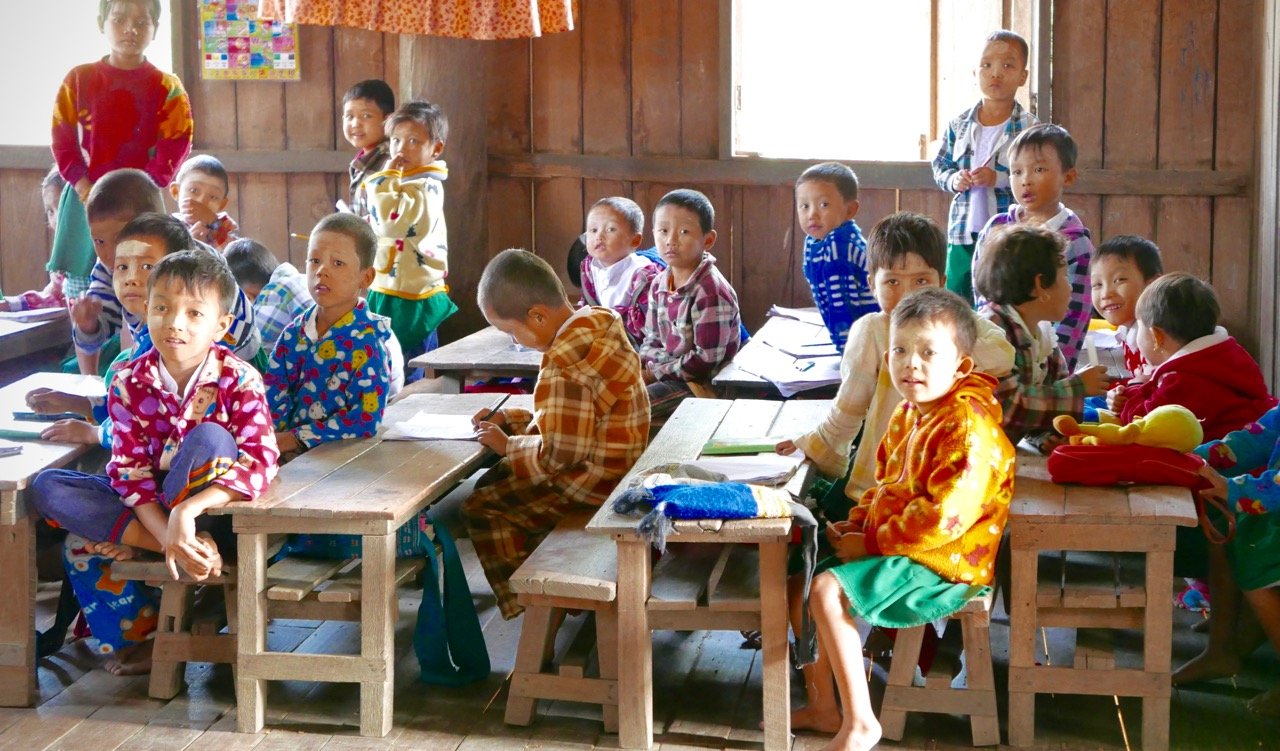 Schoolchildren in Burma.