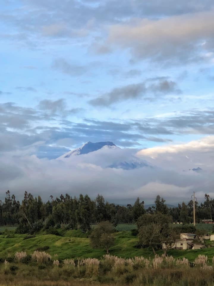 Cotopaxi, often shrouded in clouds.
