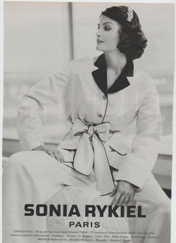 1990s. Helena Christensen in a Sonia Rykiel ad. Reminiscent of 1930s Coco Chanel.