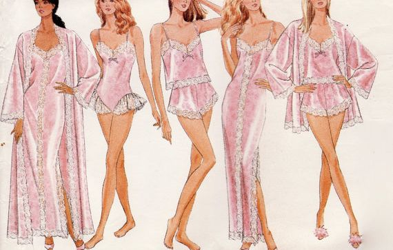 Quintessential lingerie looks from a 1980's sewing pattern
