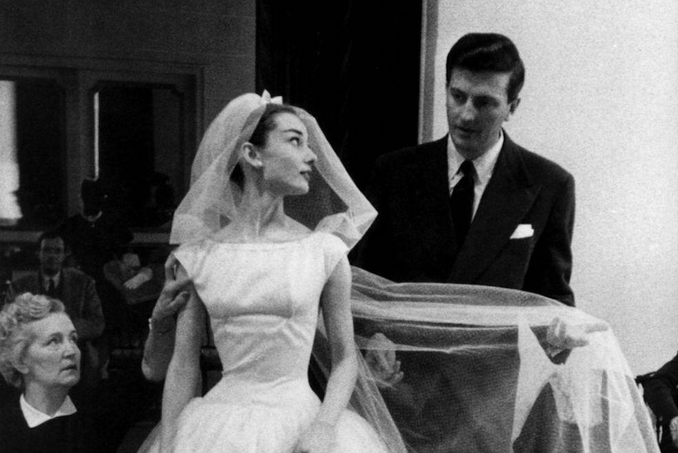 Audrey and Hubert in a fitting for  Funny Face