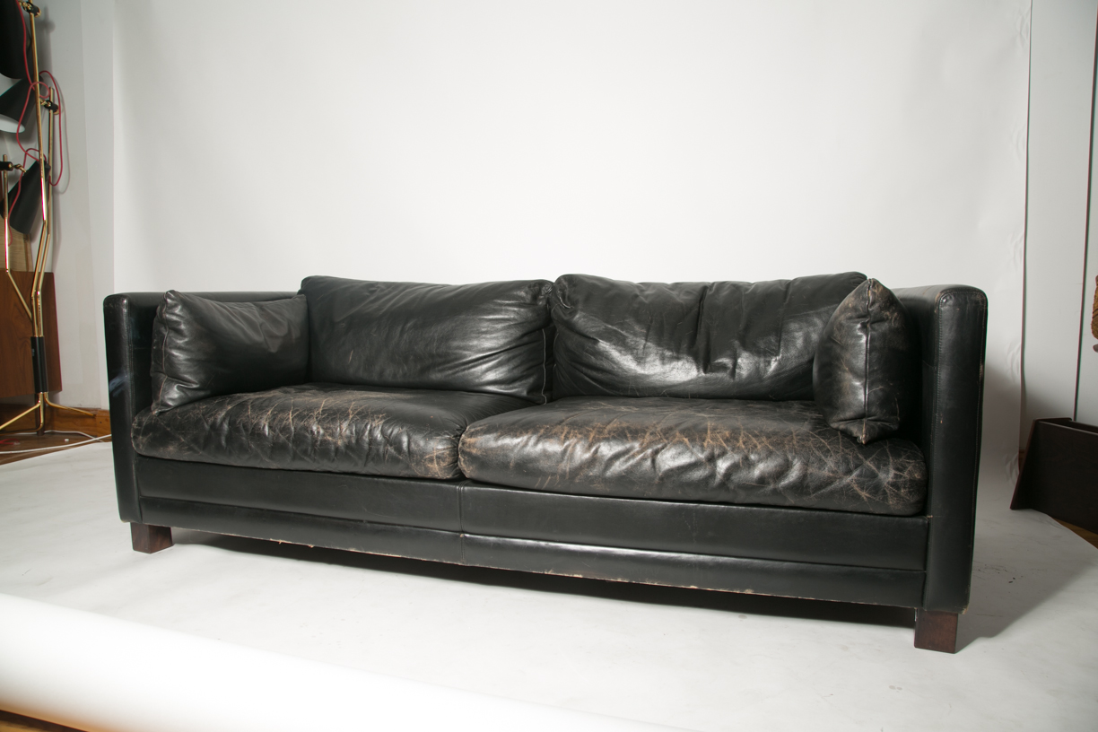 S Black Leather Sofa Sold Equity Modern