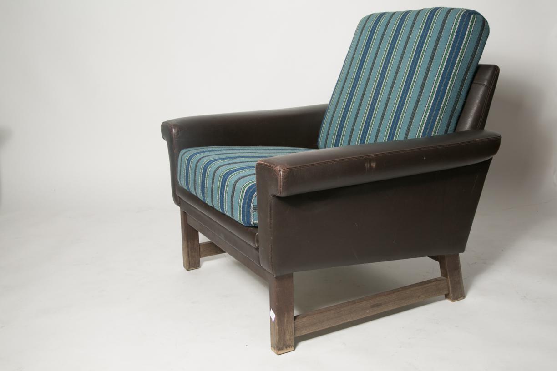 Danish leather modern blue wool chair 6.jpg