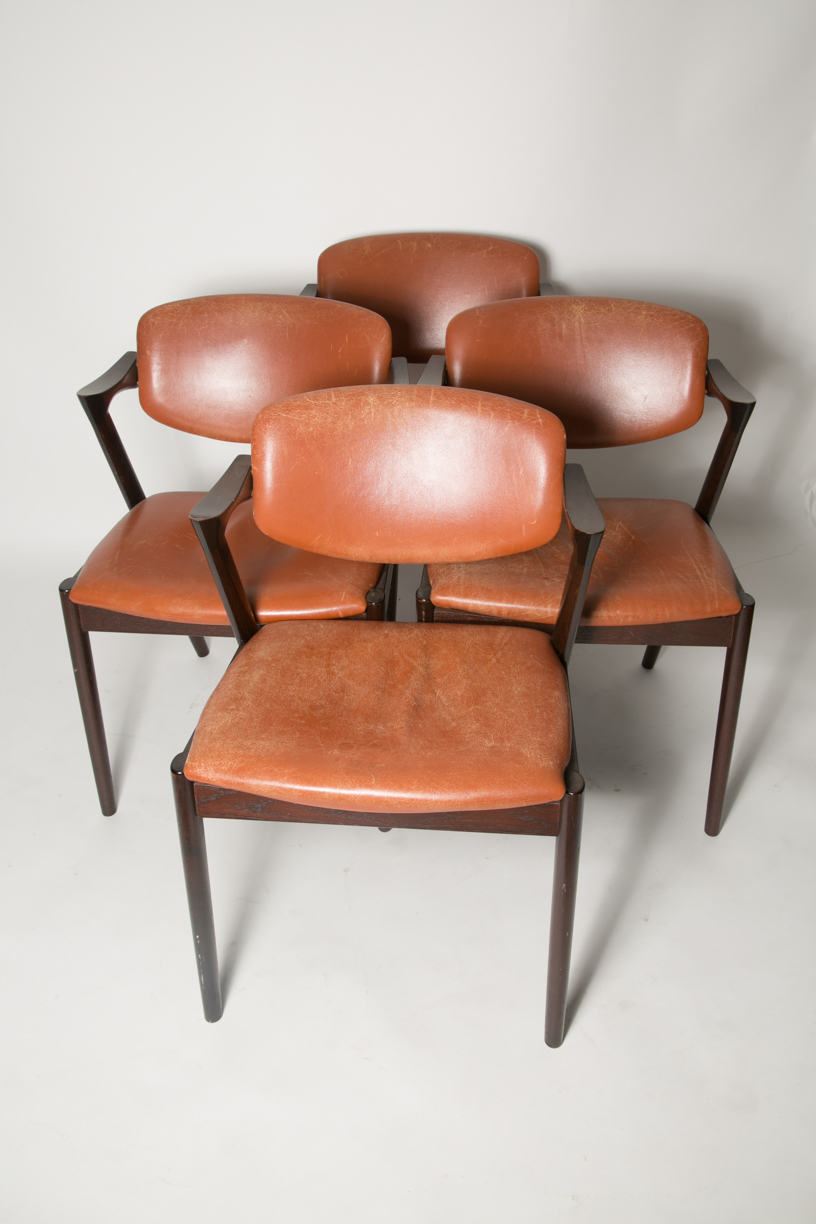 Kai Kristiansen 'Z' chairs in cognac leather