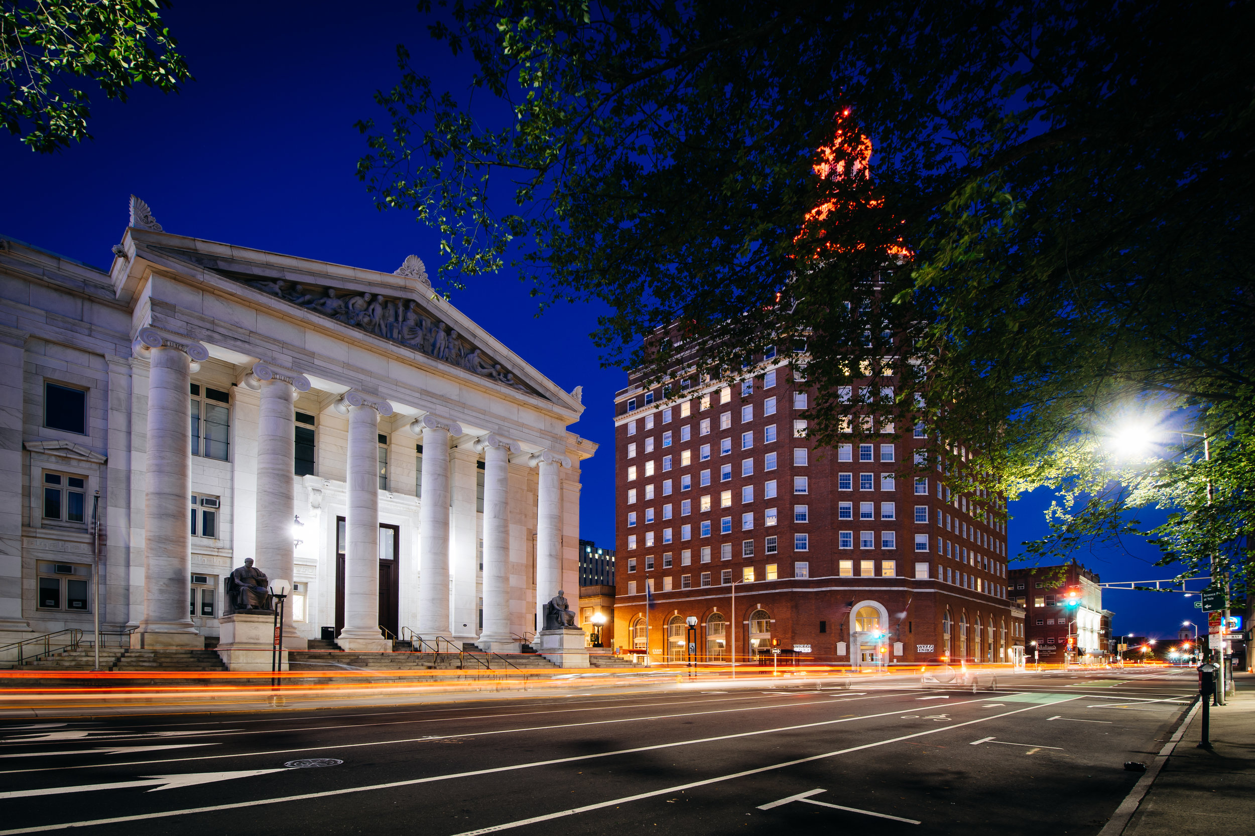 Buildings along Elm Street at night, in downtown New Haven, Connecticut.-1.jpg
